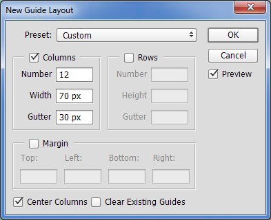 New guide layout settings