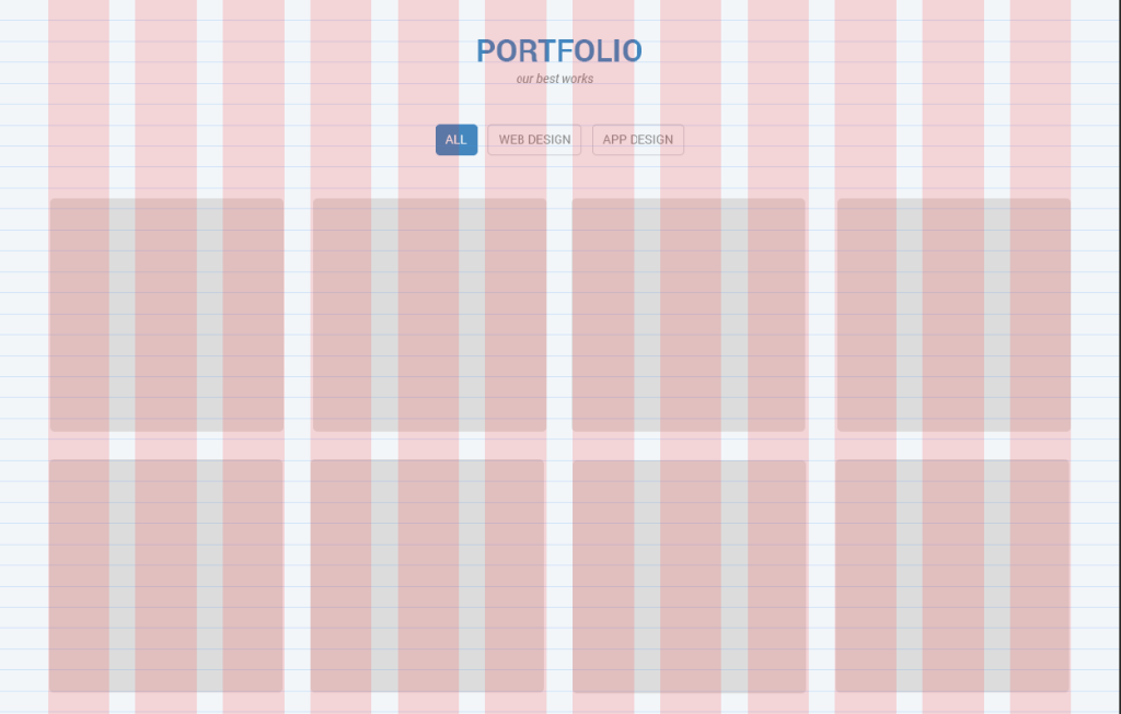 Portfolio items aligned with the grid