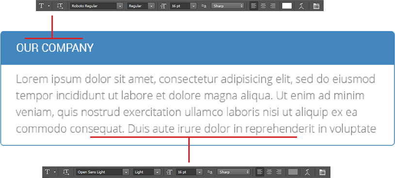 Accordion font settings
