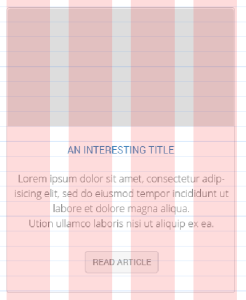 Blog box content aligned with the grid