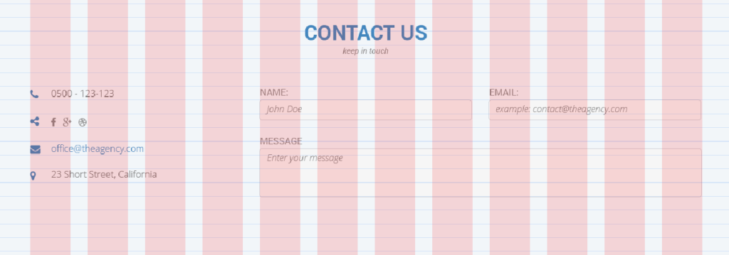 Contact form aligned with the grid