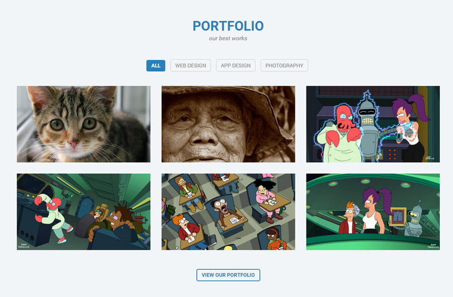 Finished Portfolio section