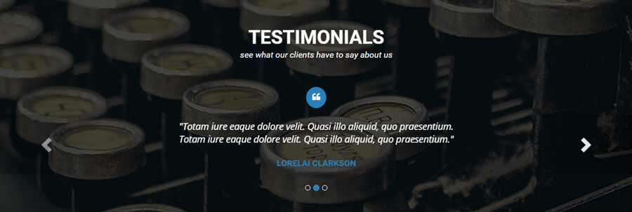 Finished Testimonials section