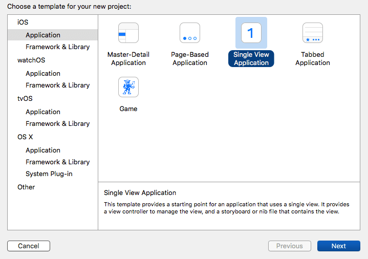 Selecting project type