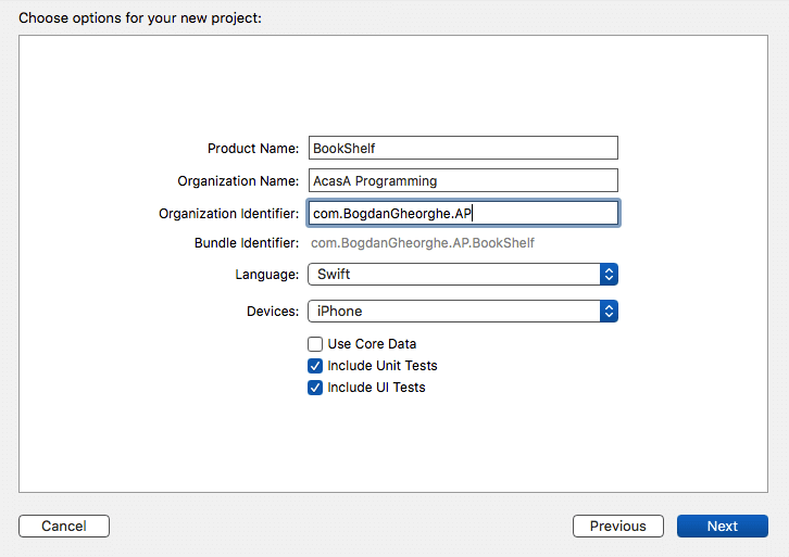 Setting up the project name